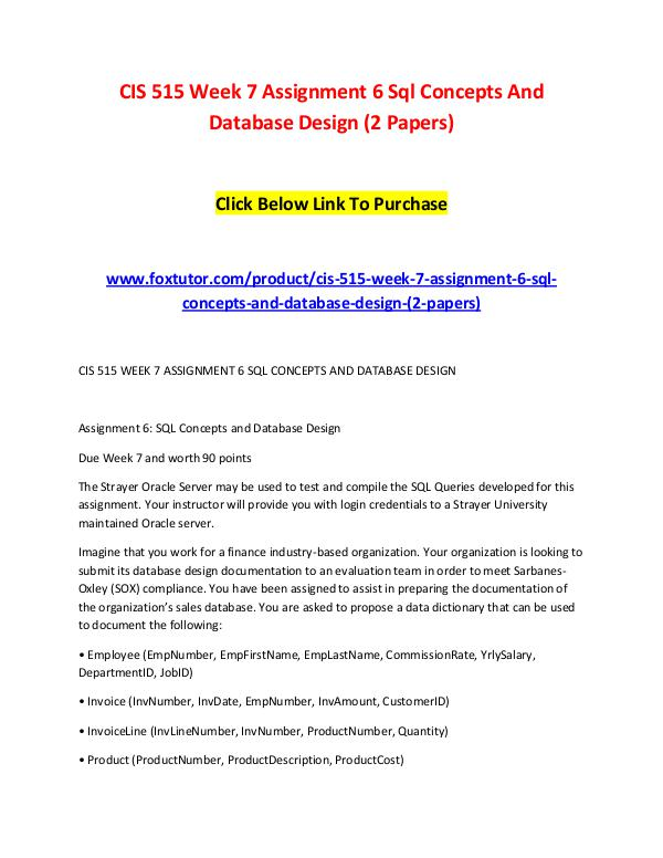 CIS 515 Week 7 Assignment 6 Sql Concepts And Database Design (2 Paper CIS 515 Week 7 Assignment 6 Sql Concepts And Datab