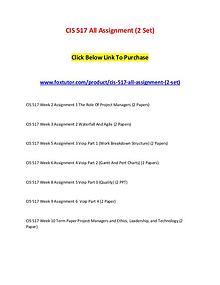 CIS 517 All Assignment (2 Set)