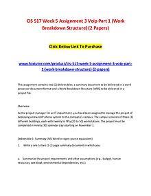 CIS 517 Week 5 Assignment 3 Voip Part 1 (Work Breakdown Structure) (2