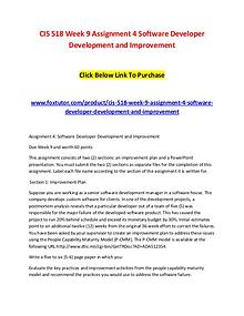 CIS 518 Week 9 Assignment 4 Software Developer Development and Improv