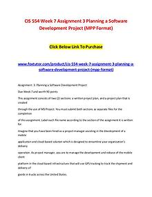 CIS 554 Week 7 Assignment 3 Planning a Software Development Project (