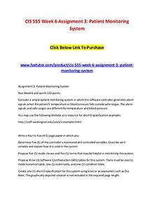 CIS 555 Week 6 Assignment 3 Patient Monitoring System