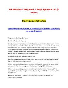 CIS 560 Week 7 Assignment 2 Single Sign-On Access (2 Papers)