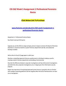 CIS 562 Week 3 Assignment 1 Professional Forensics Basics