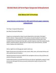 CIS 562 Week 10 Term Paper Corporate Embezzlement
