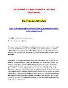 CIS 590 Week 4 Project Deliverable 2 Business Requirements