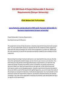 CIS 590 Week 4 Project Deliverable 2 Business Requirements (Strayer U