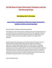 CIS 590 Week 6 Project Deliverable 3 Database and Data Warehousing De CIS 590 Week 6 Project Deliverable 3 Database and