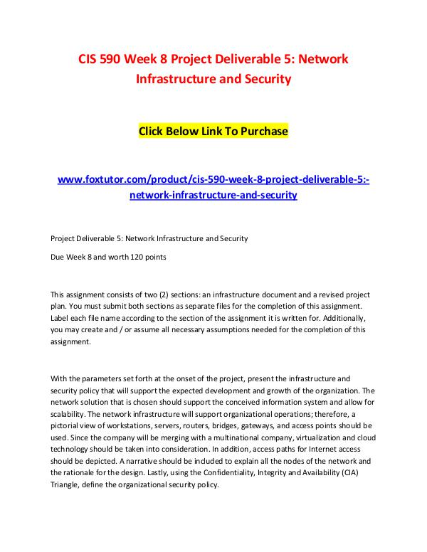 CIS 590 Week 8 Project Deliverable 5 Network Infrastructure and Secur CIS 590 Week 8 Project Deliverable 5 Network Infra