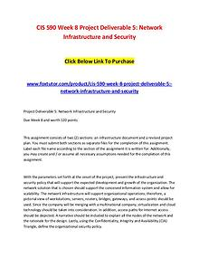 CIS 590 Week 8 Project Deliverable 5 Network Infrastructure and Secur