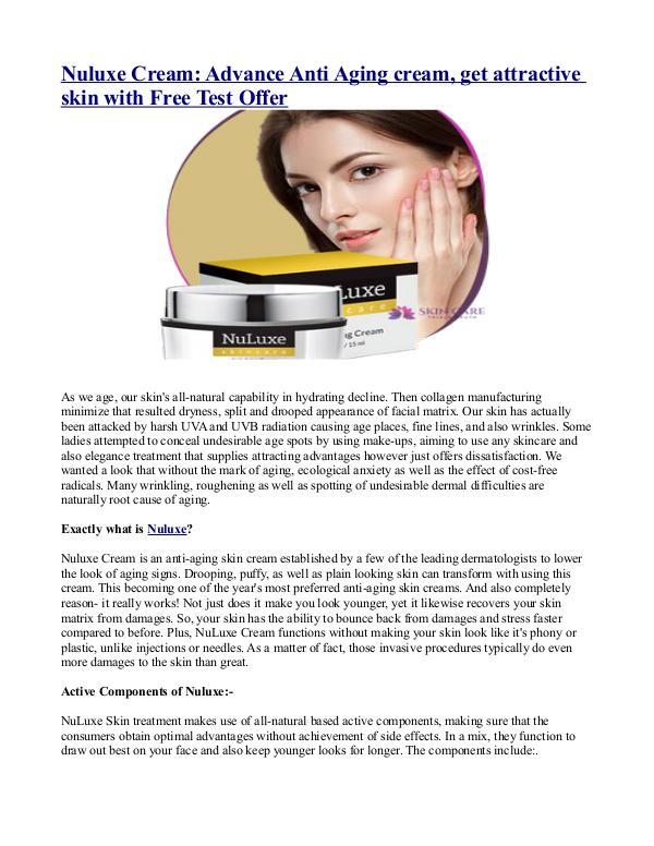 What are the benefits of Nuluxe Cream? Nuluxe Cream- Advance Anti Aging cream, get attrac