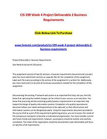 CIS 599 Week 4 Project Deliverable 2 Business Requirements
