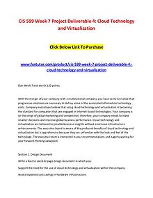 CIS 599 Week 7 Project Deliverable 4 Cloud Technology and Virtualizat