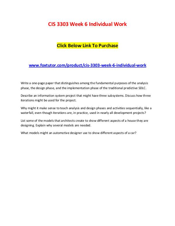 CIS 3303 Week 6 Individual Work CIS 3303 Week 6 Individual Work