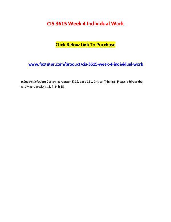 CIS 3615 Week 4 Individual Work CIS 3615 Week 4 Individual Work