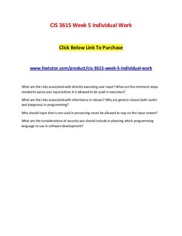 CIS 3615 Week 5 Individual Work CIS 3615 Week 5 Individual Work