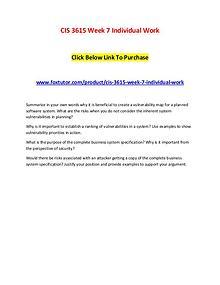 CIS 3615 Week 7 Individual Work