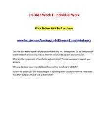 CIS 3615 Week 11 Individual Work