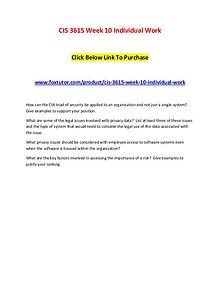 CIS 3615 Week 10 Individual Work