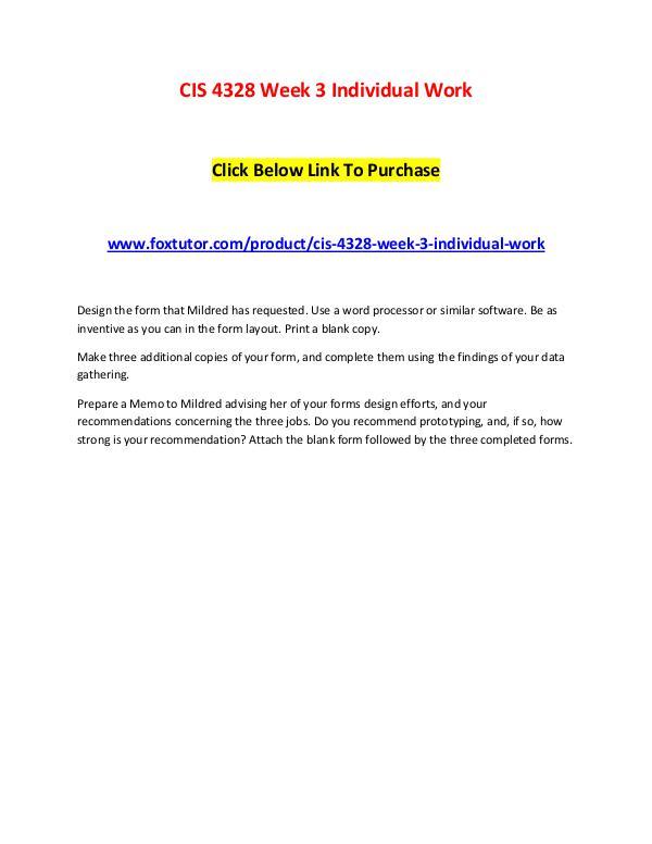 CIS 4328 Week 3 Individual Work CIS 4328 Week 3 Individual Work