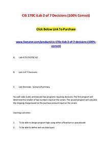 CIS 170C iLab 2 of 7 Decisions (100% Correct)