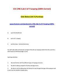 CIS 170C iLab 3 of 7 Looping (100% Correct)