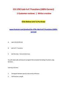 CIS 170C iLab 4 of 7 Functions (100% Correct)