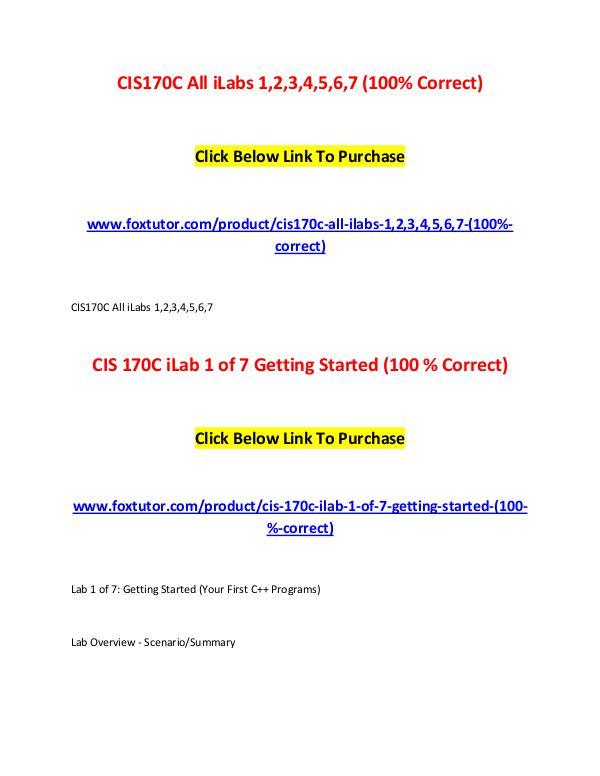 CIS170C All Assignments CIS170C All Assignments