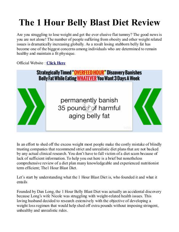 Dan Long's 1 Hour Belly Blast Diet PDF / Plan Book Free Download 1 Hour Belly Blast Diet System Free Download