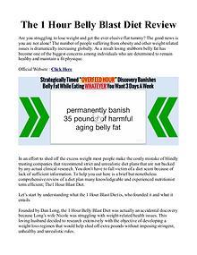 Dan Long's 1 Hour Belly Blast Diet PDF / Plan Book Free Download