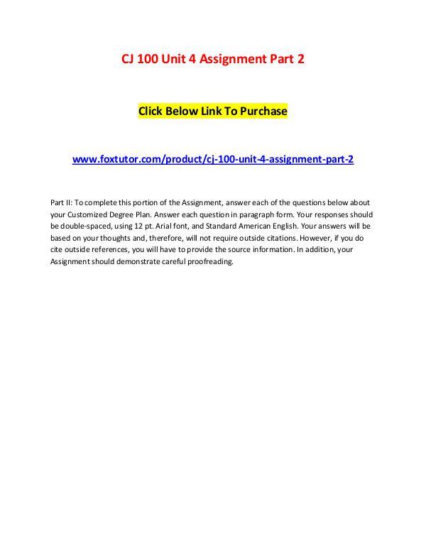 CJ 100 Unit 4 Assignment Part 2 CJ 100 Unit 4 Assignment Part 2