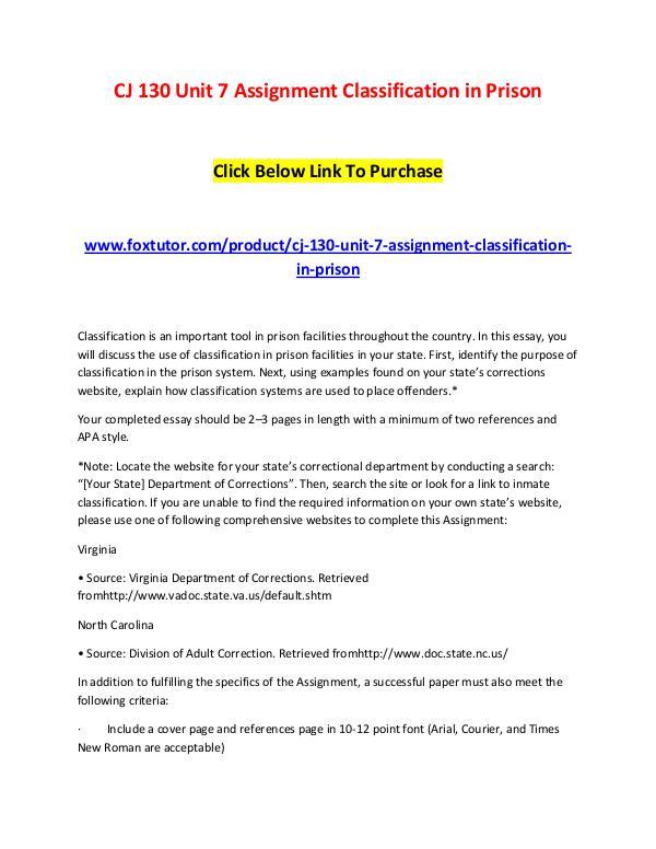 CJ 130 Unit 7 Assignment Classification in Prison CJ 130 Unit 7 Assignment Classification in Prison