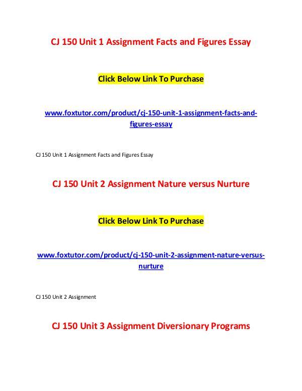 CJ 150 All Assignments CJ 150 All Assignments