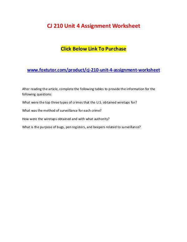 CJ 210 Unit 4 Assignment Worksheet CJ 210 Unit 4 Assignment Worksheet