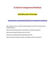 CJ 210 Unit 4 Assignment Worksheet