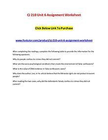 CJ 210 Unit 6 Assignment Worksheet