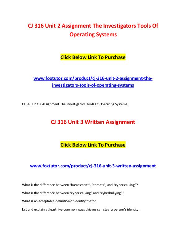 CJ 316 All Assignments CJ 316 All Assignments