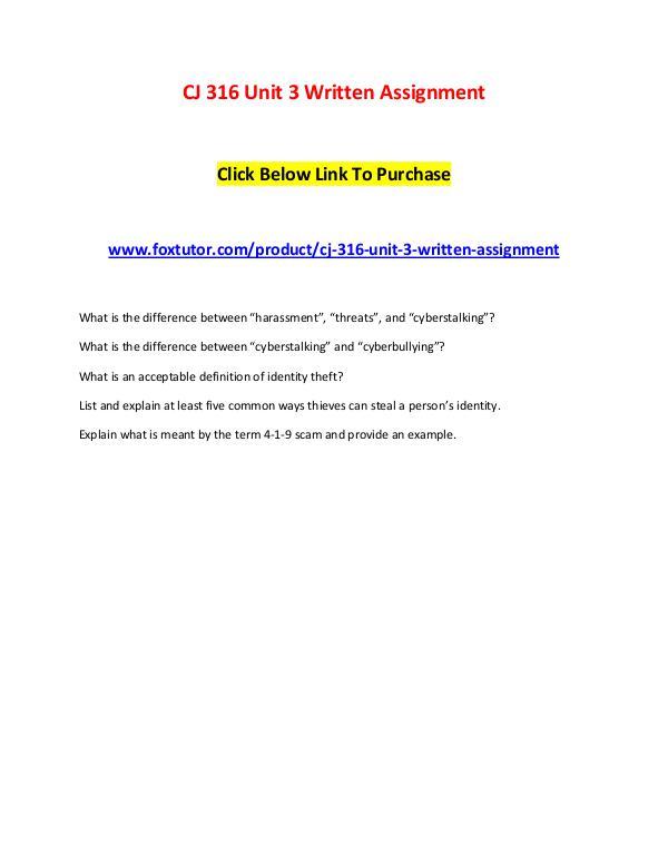 CJ 316 Unit 3 Written Assignment CJ 316 Unit 3 Written Assignment
