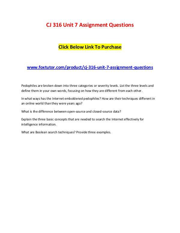 CJ 316 Unit 7 Assignment Questions CJ 316 Unit 7 Assignment Questions