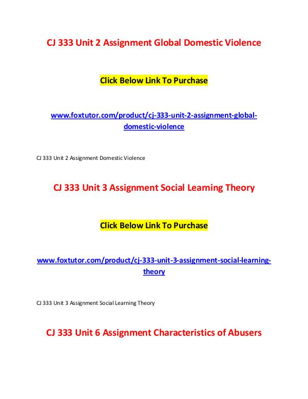 CJ 333 All Assignments CJ 333 All Assignments