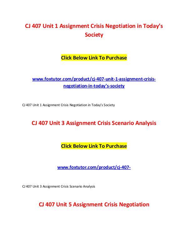 CJ 407 All Assignments CJ 407 All Assignments