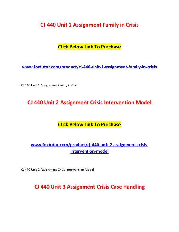 CJ 440 All Assignments CJ 440 All Assignments