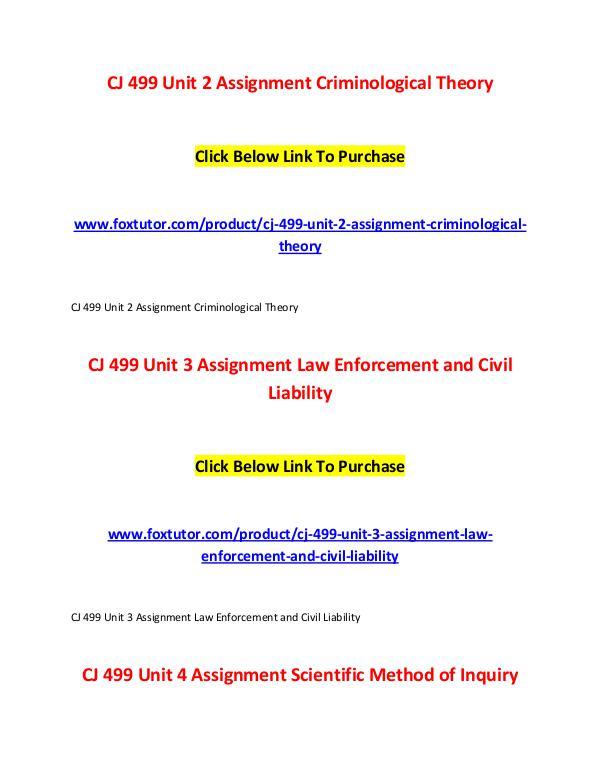 CJ 499 All Assignments CJ 499 All Assignments