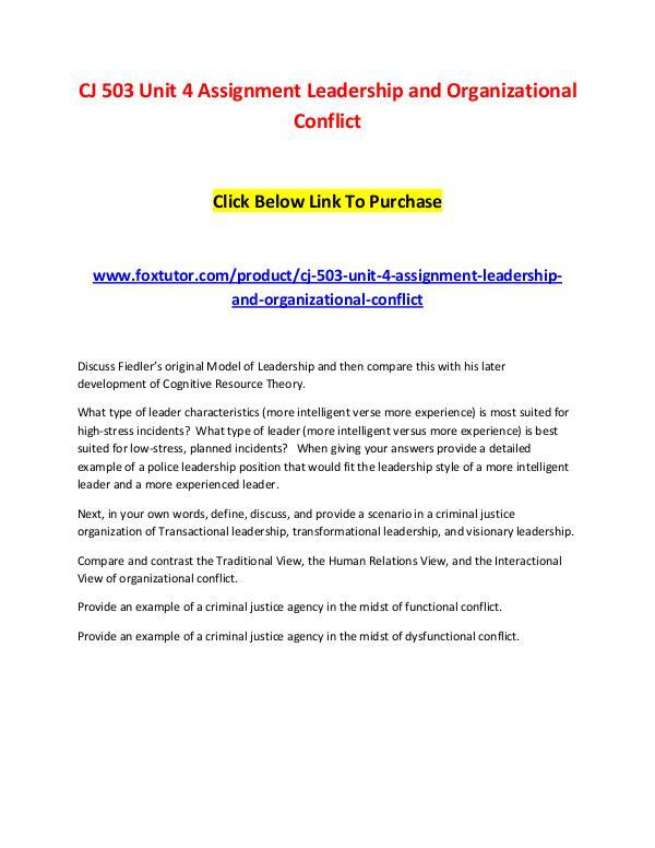 CJ 503 Unit 4 Assignment Leadership and Organizational