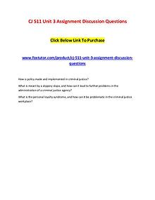 CJ 511 Unit 3 Assignment Discussion Questions