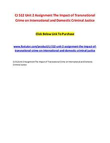 CJ 512 Unit 2 Assignment The Impact of Transnational Crime on Interna