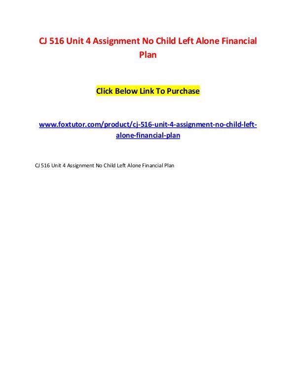 CJ 516 Unit 4 Assignment No Child Left Alone Financial Plan CJ 516 Unit 4 Assignment No Child Left Alone Finan