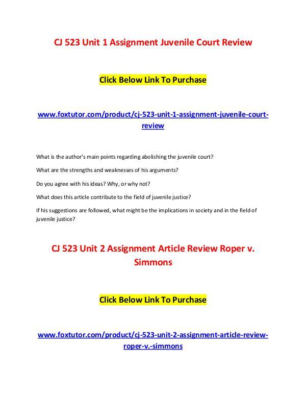 CJ 523 All Assignments CJ 523 All Assignments