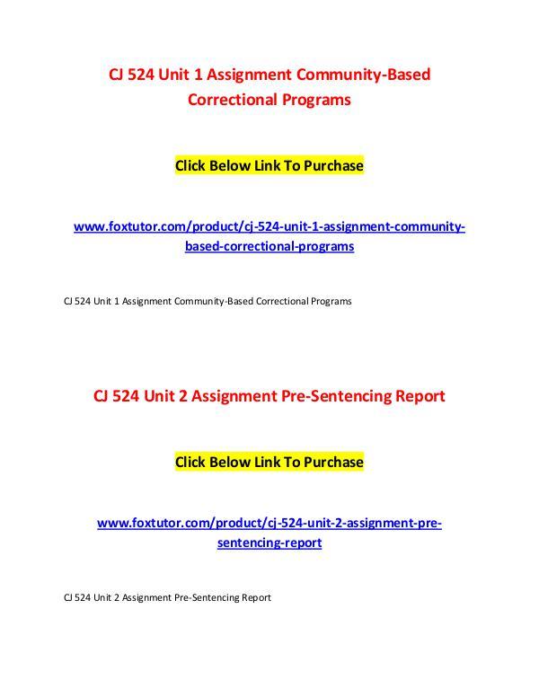 CJ 524 All Assignments CJ 524 All Assignments