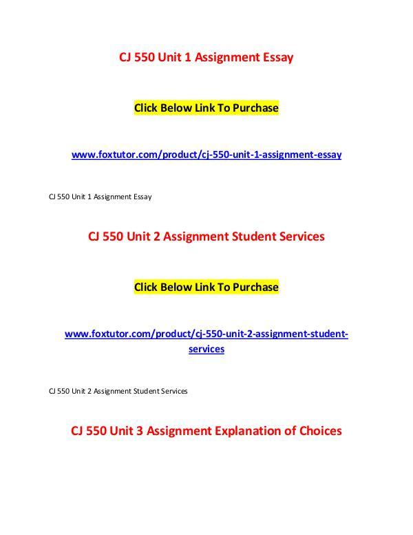 CJ 550 All Assignments CJ 550 All Assignments